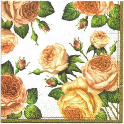 แนวภาพดอกไม้ เป็นช่อดอกกุหลาบ บนพื้นขาว เป็นภาพกระจายเต็มแผ่น กระดาษแนพกิ้นสำหรับทำงาน เดคูพาจ Decoupage Paper Napkins ขนาด 33X33cm