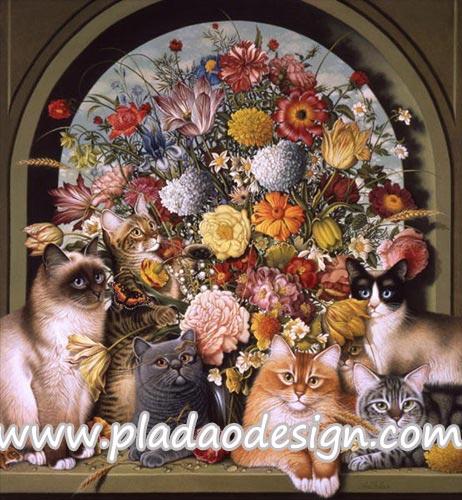 กระดาษสาพิมพ์ลาย สำหรับทำงาน เดคูพาจ Decoupage แนวภาำพ แมว 6 ตัว 6 พันธ์ แอ๊คท่าถ่ายรูป หน้าช่อดอกไม้ขนาดใหญ่ (ปลาดาวดีไซน์)