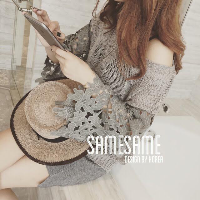 Kniting Lace Flora Top design by Korea เสื้อไหมพรมทอลาย เล่นดีไซน์ช่วงแขนเป็นผ้าไหมพรมลูกไม้แขนบานนิดๆ ใส่สวยค่ะ แมตซ์ง่ายด้วย งานมาน้อยนะคะ