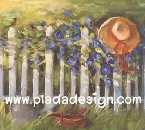 กระดาษสาพิมพ์ลาย สำหรับทำงาน เดคูพาจ Decoupage แนวภาำพ บ้านและสวน ดอกไม้สีน้ำเงิน ขึ้นแทรกระหว่างช่องว่างของซี่รั้วไม้ มีหมวกปีกบานแขวนอยู่บนรั้ว (ปลาดาวดีไซน์)