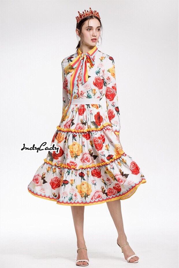 เสื้อผ้าเกาหลี พร้อมส่ง เสื้อกับกางเกงพิมพ์ลายดอกกุหลาบ