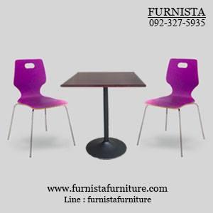 ชุดโต๊ะอาหารขาแชมเปญพร้อมเก้าอี้ดีไซน์สีม่วง 2 ที่นั่ง (20 ชุดขึ้นไป)