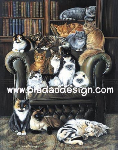 กระดาษสาพิมพ์ลาย สำหรับทำงาน เดคูพาจ Decoupage แนวภาพ แมวหมู่มารวมตัวกันนั่งบนเก้าอี้อาร์มแชร์ในห้องสมุดของเจ้านาย