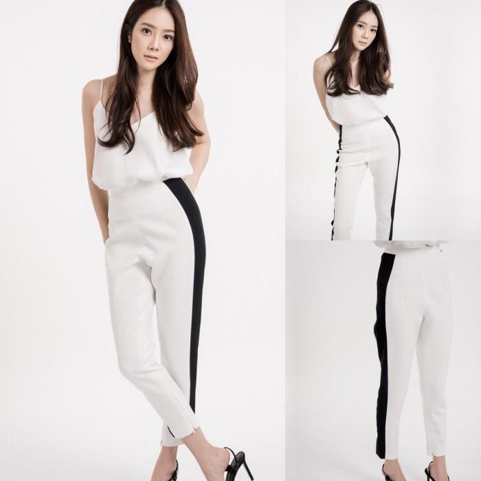 เสื้อผ้าเกาหลี พร้อมส่ง สายเดี่ยว+กางเกงทรงขาเดฟ