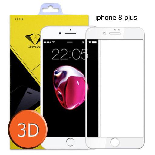 ฟิล์มกระจกเต็มจอ IPhone 8 Plus 3D ขอบ Carbon fiber สีขาว (ไอโฟน8พลัส)
