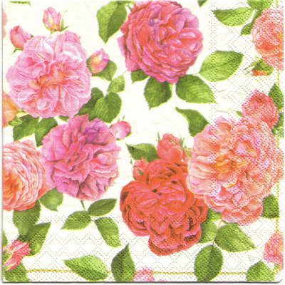 แนวภาพดอกไม้ ดอกกุหลาบ บนพื้นขาว ภาพกระจายเต็มแผ่น กระดาษแนพกิ้นสำหรับทำงาน เดคูพาจ Decoupage Paper Napkins ขนาด 33X33cm