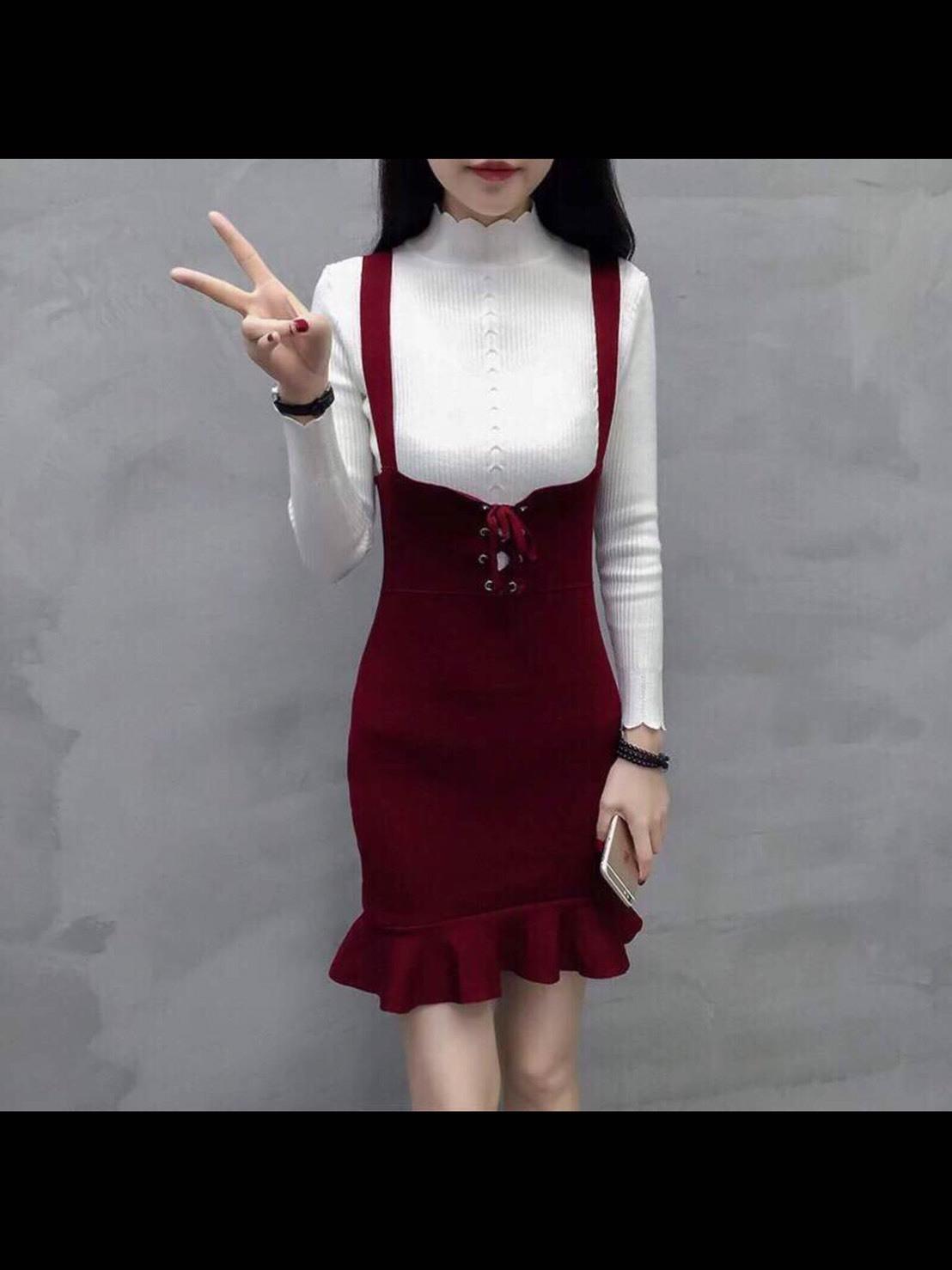 พร้อมส่ง Dress ชุดเดรสไหมพรมเกาหลี