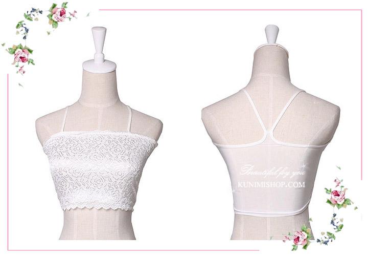 เสื้อซับในผ้าลายลูกไม้แบบมีสายคล้องไหล่ สวยหวาน จะใส่เป็นซับใน หรือ จะใส่แบบเป็นซีทรูก็สวย เพราะมีผ้าลายลูกไม้ประดับ สวยทันสมัยมากคะ รอบอกไม่เกิน 34 นิ้ว มี 3 สี ขาว , ดำ , และ สีเนื้อ