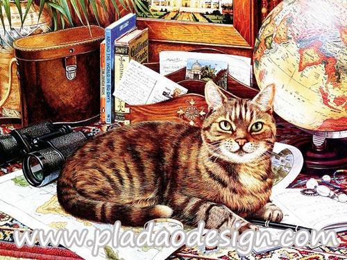 กระดาษสาพิมพ์ลาย สำหรับทำงาน เดคูพาจ Decoupage แนวภาำพ น้องแมวสีสวย นอนคอยบทสรุปของเจ้านายนักเดินทางว่าจะพาไปเที่ยวไหน