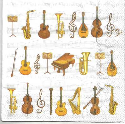 แนวภาพลายแต่ง เครื่องดนตรีหลากหลายชนิด ภาพโทนสีครีม เป็นภาพ 4 บล๊อค กระดาษแนพกิ้นสำหรับทำงาน เดคูพาจ Decoupage Paper Napkins ขนาด 33X33cm