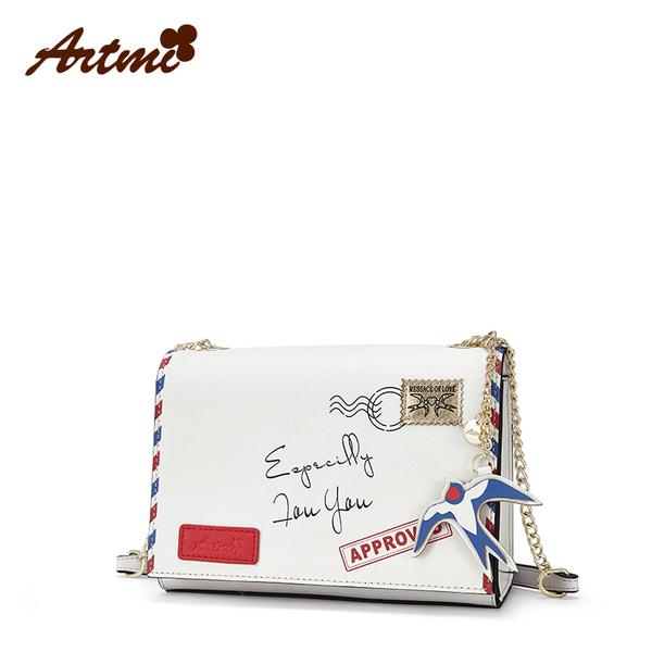 Artmi กระเป๋าถือ/สะพายแฟชั่นพิมพ์ลายการ์ตูน ลวดลายทันสมัย สไตล์วินเทจ
