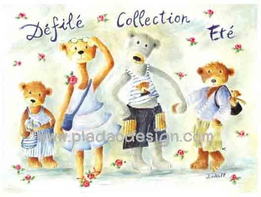 กระดาษสาพิมพ์ลาย rice paper เป็น กระดาษสา สำหรับทำงานฝีมือ เดคูพาจ Decoupage แนวภาพ ครอบครัวพี่หมี เท็ดดี้ แบร์ teddy bear มากันพร้อมทั้งพ่อแม่ลูก 2 จูงมือกันไปเที่ยวทะเล (ปลาดาว ดีไซน์)