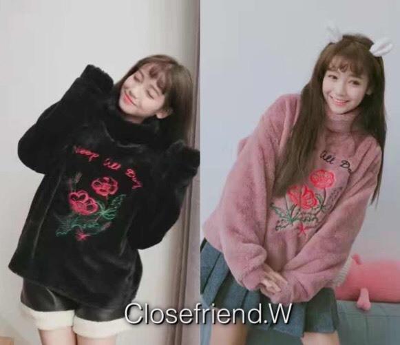 เสื้อเกาหลี พร้อมส่ง เสื้อกันหนาวปักดอกไม้