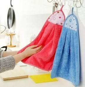 GK080 ผ้าเช็ดมือ ผ้าขนหนูดูดซับน้ำได้ดี สำหรับแขวนเช็ดมือ เนื้อผ้าหนานุ่ม มีที่แขวน