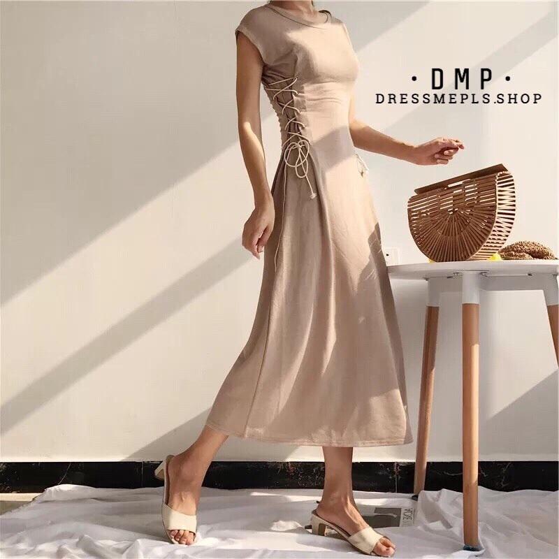 เดรสเกาหลี พร้อมส่ง เดรสยาว ผ้า knit เนื้อบาง ผ้านิ่ม