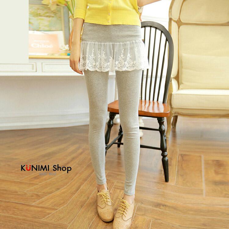 LG002 กางเกงเลคกิ้งขายาว มีผ้าลูกไม้ประดับเป็นกระโปรง หวานน่ารัก มี 4 สี เทาอ่อน เทาเข้ม กรมท่า ดำ