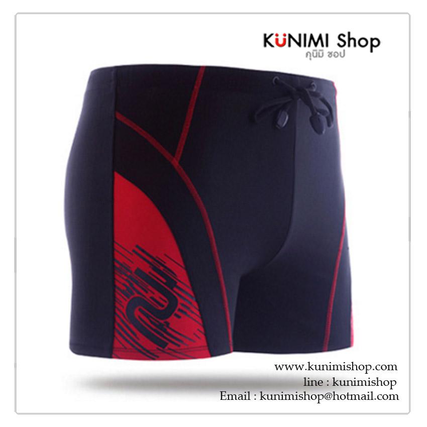 SM002 กางเกงว่ายน้ำผู้ชาย สีดำลายสวยสีแดง เอวยางยืด มึ 4 ขนาด M , L , XL , XXL เลื่อนลงไปเลือกขนาดด้านล่างได้ครับ