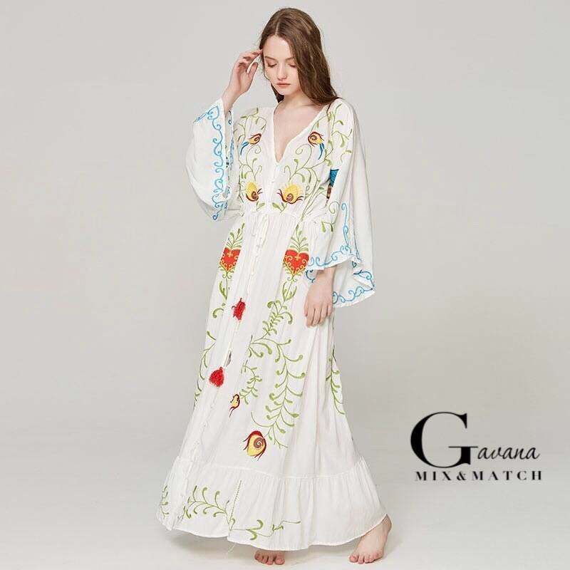 Maxi dress พร้อมส่ง เดรสเกาหลี สไตล์โบฮี ปักลาย