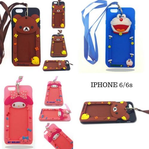 เคส IPhone 6 เคสไอโฟน6 เคสการ์ตูนน่ารักๆ มาพร้อมช่องใส่บัตร และสายคล้องคอ