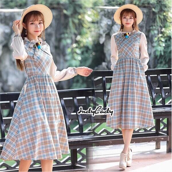 ชุดเดรสเกาหลี พร้อมส่ง Dress ลายสก็อต
