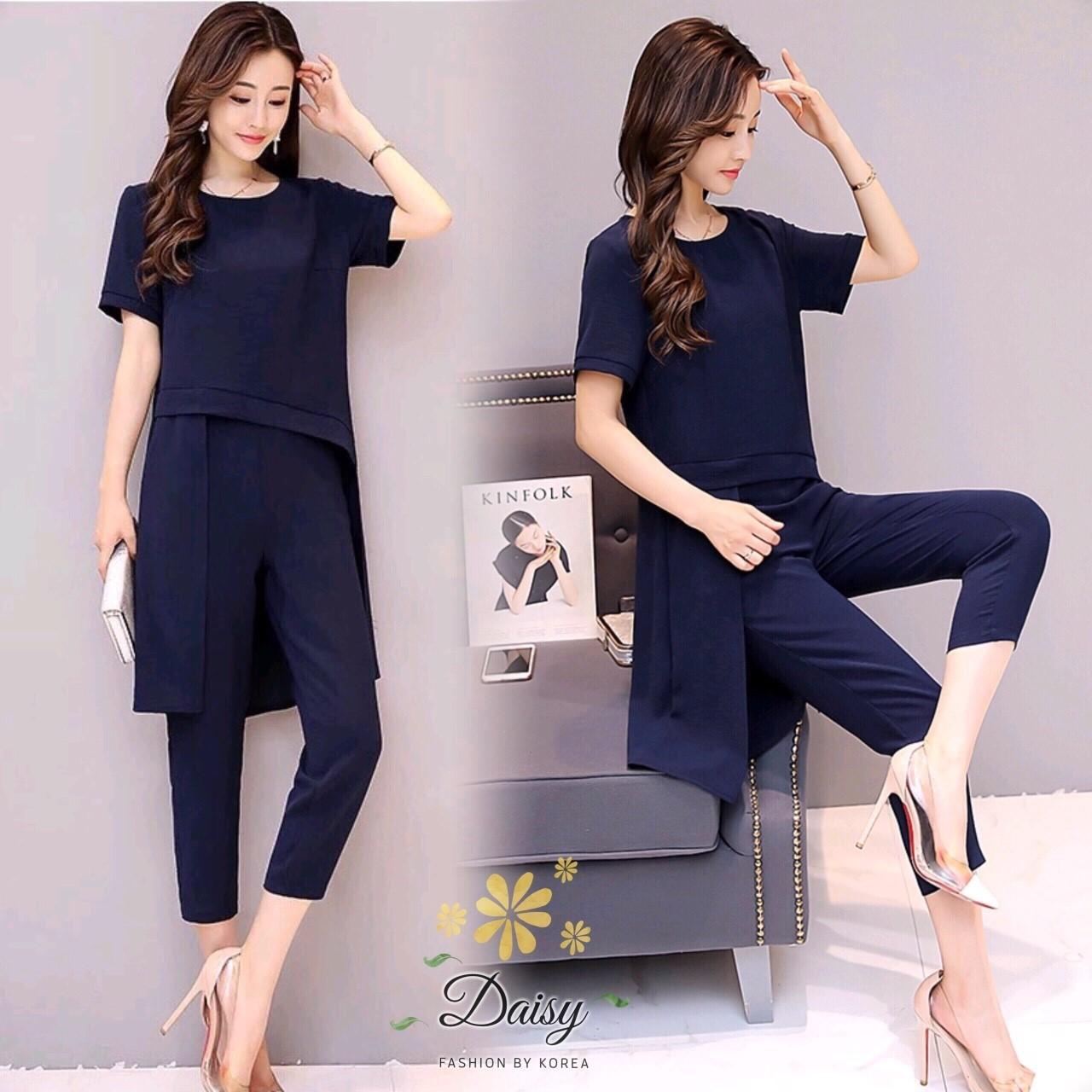 เสื้อเกาหลี +กางเกงขาสี่ส่วน หน้าสั้นหลังยาว พร้อมส่ง