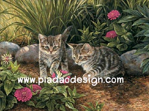 กระดาษสาพิมพ์ลาย สำหรับทำงาน เดคูพาจ Decoupage แนวภาพ 2 แมวเหมียวเพื่อนรัก วิ่งเ่ล่นกับมิตรใหม่ผีเสื้อตัวสวย