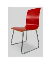 เก้าอี้วีเนียร์ดัดโค้ง สีแดง สไตล์โมเดิร์น สำหรับร้านอาหาร ฟู้ดคอร์ท