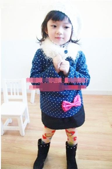 เสื้อกันหนาวแขนยาวขนฟูฟูติดโบว์สสไตล์เกาหลี