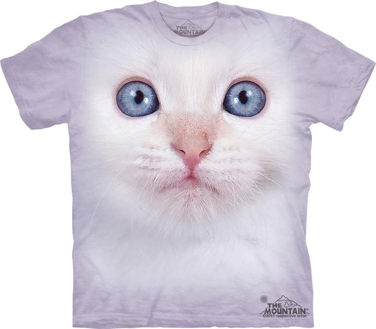 Pre.เสื้อยืดพิมพ์ลาย3D The Mountain T-shirt : White Kitten Face