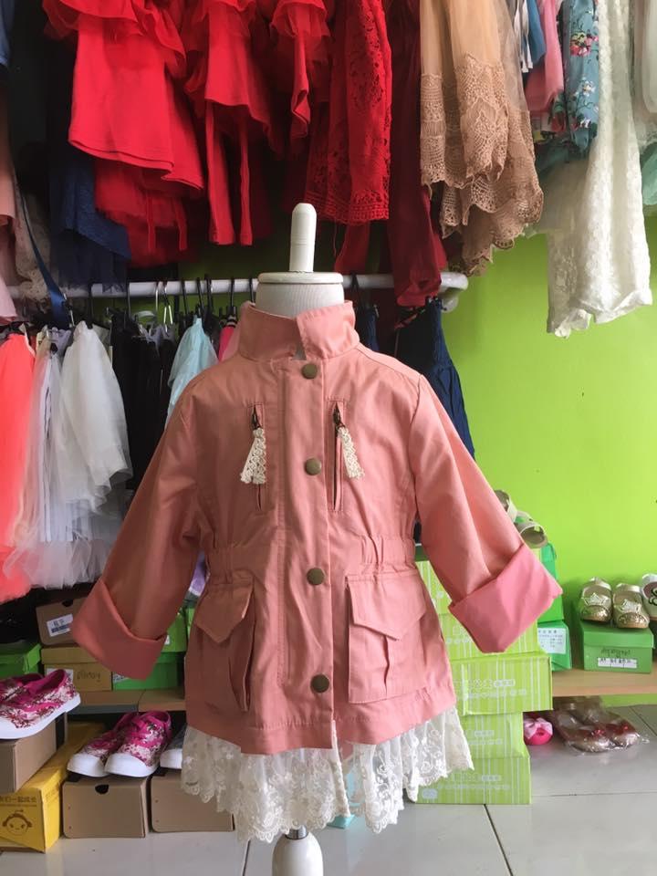 เสื้อแจ็คเก็ตเด็ก แต่งลูกไม้สีขาวชายเสื้อ Phelfish