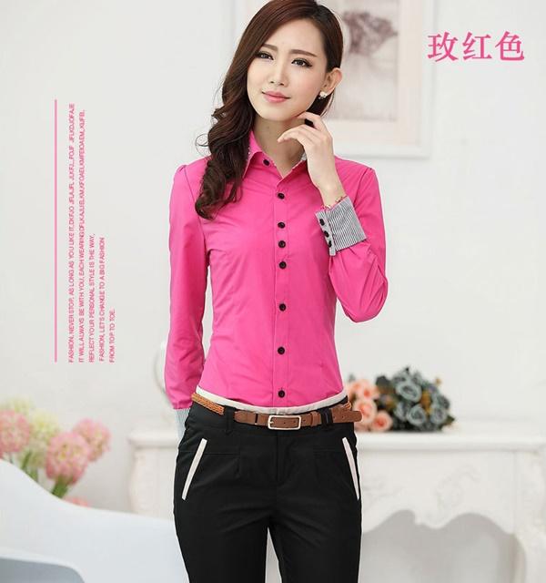Pre-Order เสื้อเชิ้ตผู้หญิง เข้ารูป แขนยาว สีชมพูเข้ม ผ้าฝ้าย แต่งด้วยผ้าลายริ้วที่ปลายแขนและสาบคอ