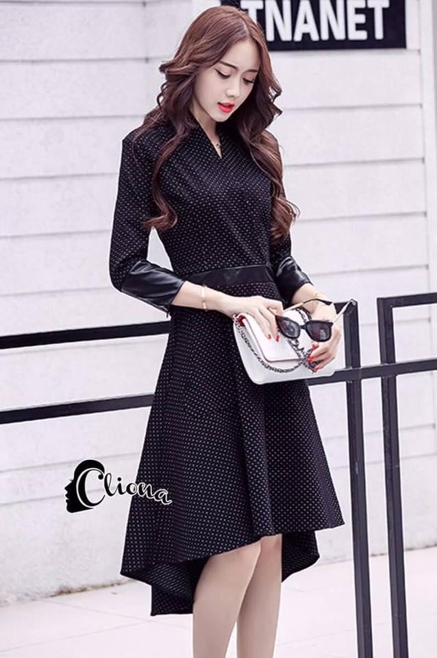 พร้อมส่ง Cliona made'White Spot Black Dress Elegant Dress - เดรสผ้ายืดพื้นดำลายจุดสีขาว ทรงคอวีเย็บป้าย ช่วงแขนและเอวเย็บตกแต่งหนัง สวมใส่ง่ายด้วยซิปด้านข้าง ผ้ายืดใส่สบายค่ะ งานเกรด Premium Quality by Cliona ค่ะ