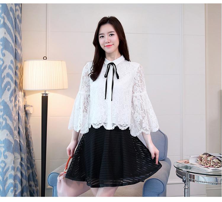 KTFN เสื้อแฟชั่นเกาหลี ผ้าลูกไม้ คอปกผูกโบว์แยกชิ้นได้ มีซับในตัดต่อปลายแขนระบาย สีขาว