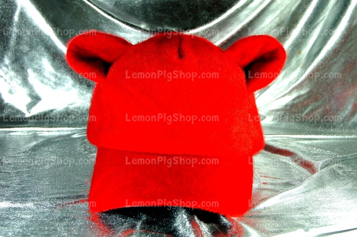 หมวก Bear หูหมี ขนสัตว์นุ่มๆ สีแดง !!!