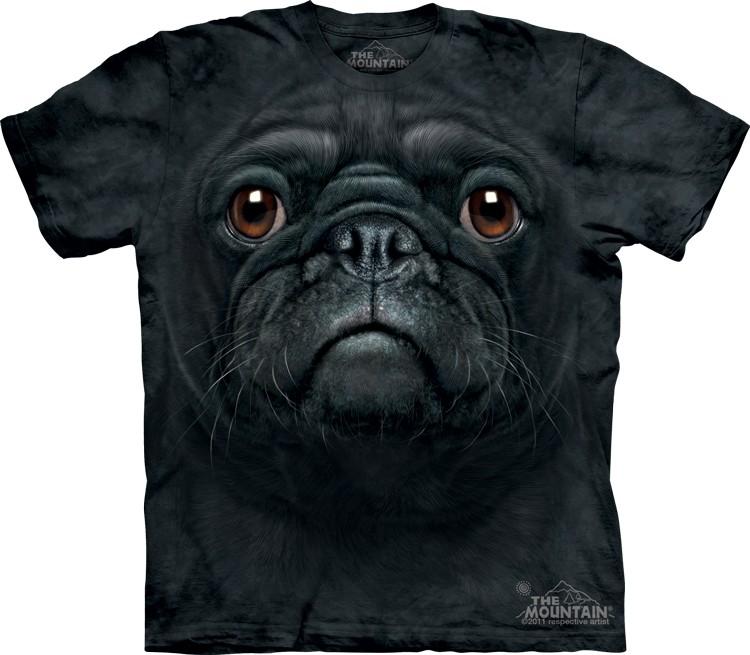 Pre.เสื้อยืดพิมพ์ลาย3D The Mountain T-shirt : Black Pug Face