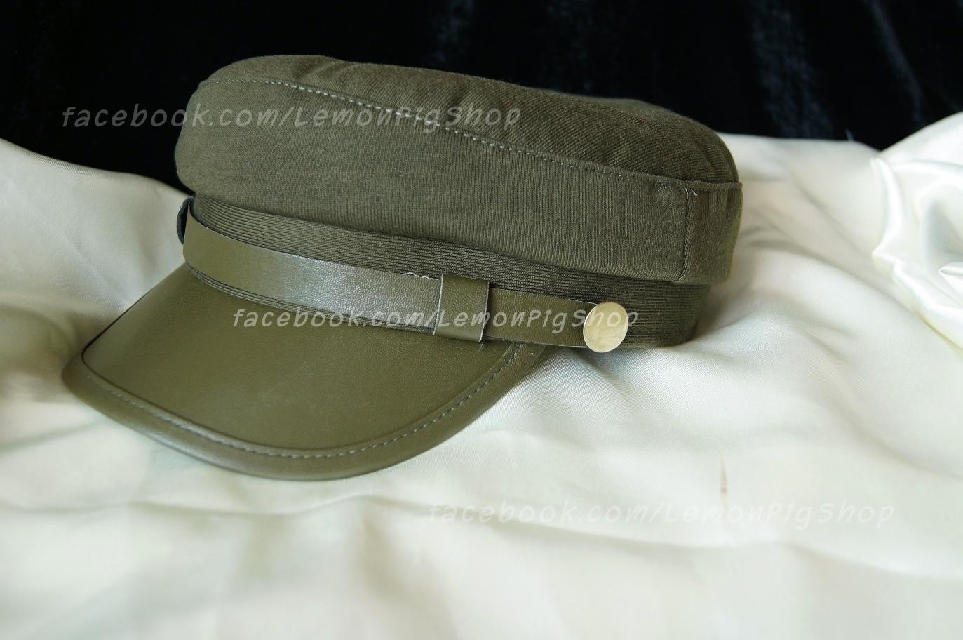 หมวกโกโบริ หมวกกัปตัน ผ้า ปีกหน้าหนัง สีเขียวขี้ม้า โกโบริมากๆ
