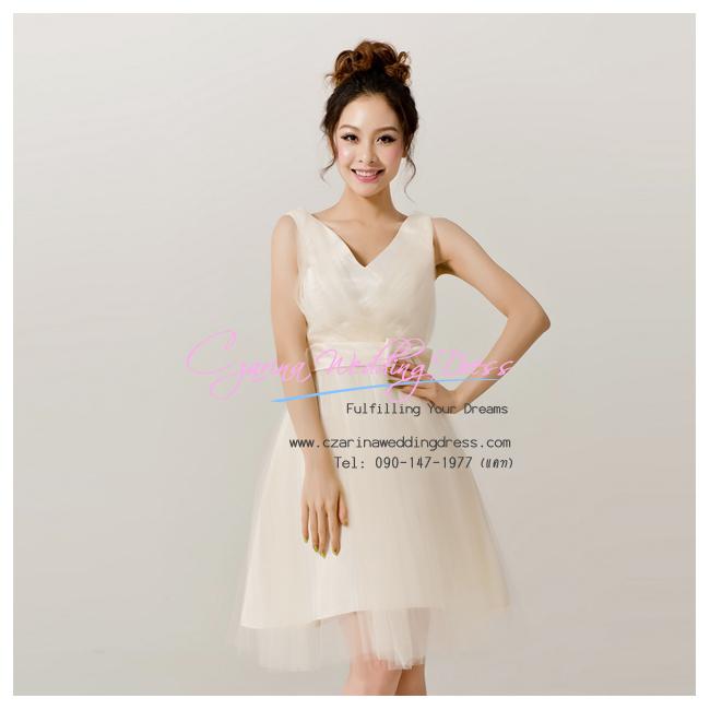 Q-0176 พร้อมส่ง ชุดไปงานแต่งงาน สีแชมเปญ วีหน้าหลัง สวยหวานน่ารัก