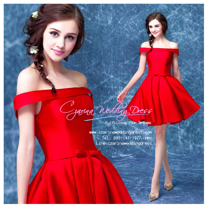 Z-0018 ชุดไปงานแต่งงานน่ารัก แขนมี เปิดไหล่ สุดหรู สวย เก๋น่ารัก ราคาถูก สีแดง ชุดสั้น