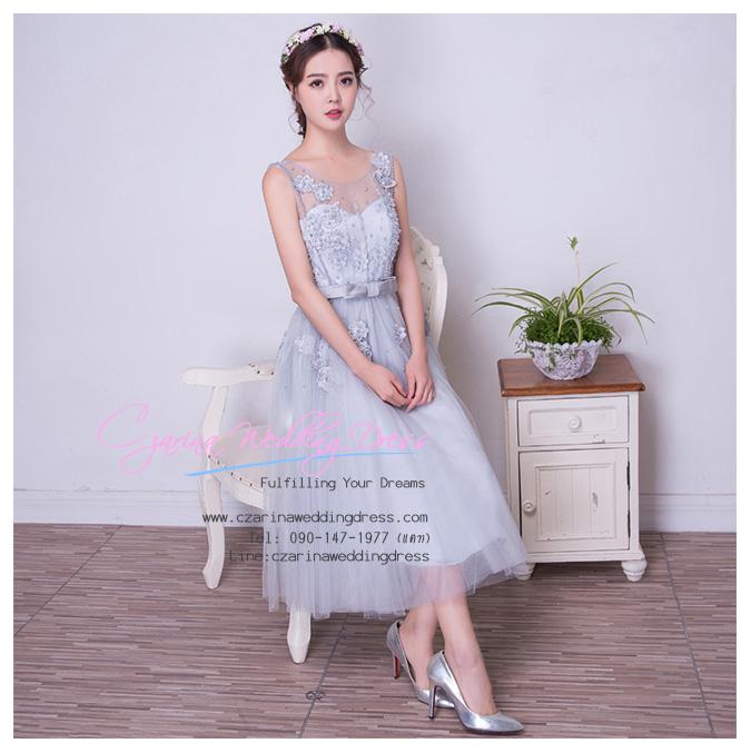 Z-0071 ชุดไปงานแต่งงานน่ารัก ลูกไม้ สุดหรู สวย เก๋น่ารัก ราคาถูก สีเทา แขนกุด