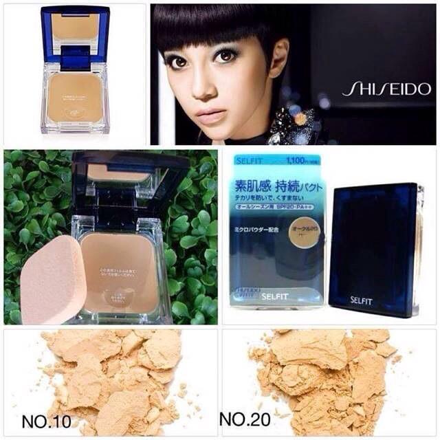 Shiseido Selfit Powder foundation SPF 20 PA++ แบบตลับจริง No. 20 สำหรับสองสี