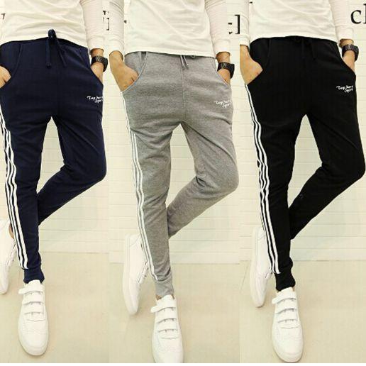 Pre Order กางเกงสไตล์ฮาเร็มแฟชั่นเกาหลี ดีไซน์แต่งแถบข้าง พิมพ์ลาย มีเชือผูกเอว มี3สี