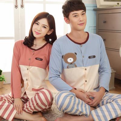 Pre Order ชุดนอนคู่รักเกาหลี เสื้อแขนยาว กระดุมหน้า พิมพ์ลายน้องหมี+กางเกงขายาวลายขวางสลับสี