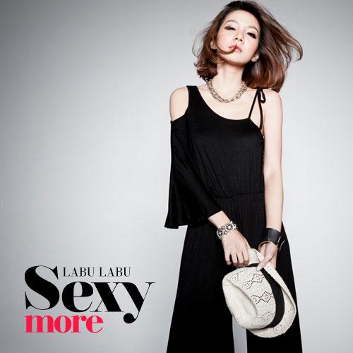 ++สินค้าพร้อมส่งค่ะ++ชุด Jumpsuit กางเกงขายาวเกาหลี ดีไซด์ไหล่เดียว ไหล่อีกข้างผูกได้ แต่งโชว์ไหล่ จั้มเอว – สีดำ