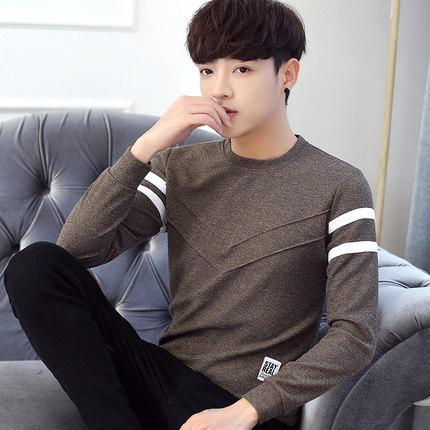 เสื้อแฟชั่นแขนยาวเกาหลี แต่งลายเส้นตัวV ดีไซน์แถบสี มี3สี