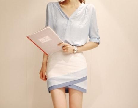 Pre Order - เดรสแฟชั่นเกาหลี เสื้อเชิ้ตแขนยาวสีฟ้า กระโปรงสีขาว ใส่ทำงานดูดีมากจ้า