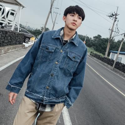 เสื้อยีนส์แจ็คเก็ตเกาหลี แต่งกระเป๋าเสื้อคู่ แนวเซอร์ มี2สี