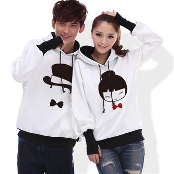 Pre Order เสื้อกันหนาวคู่รักแฟชั่นเกาหลี แขนยาวสวมเป็นถุงมือได้ มีฮู้ด พิมพ์ลายการ์ตูน มี3แบบ