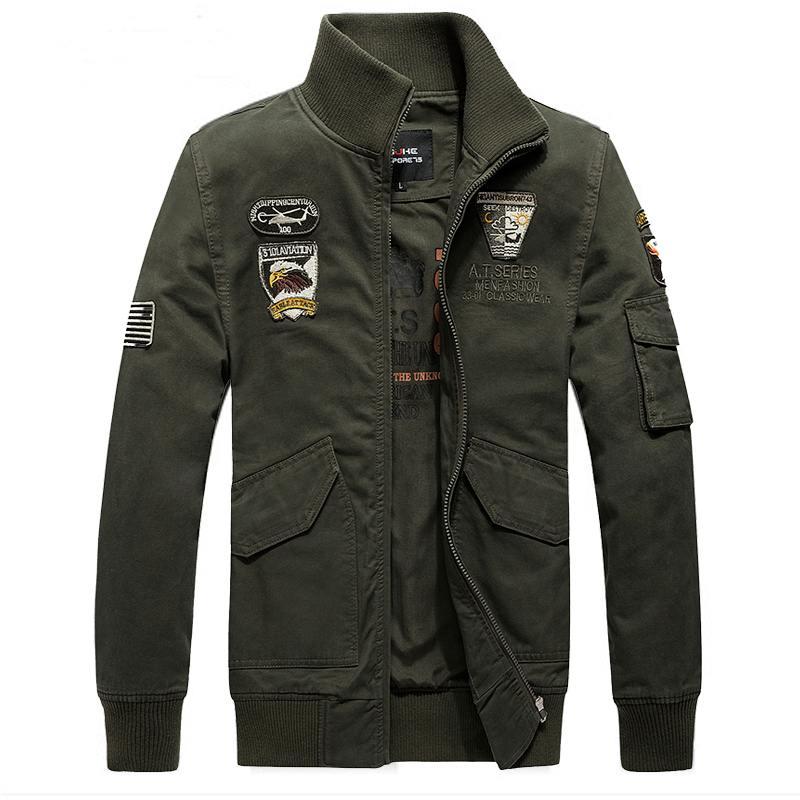 Pre Order เสื้อแจ็คเก็ตคลาสสิก แขนยาวคอปก ปักลายแนวกองทัพอากาศสุดเท่ห์ มี3สี