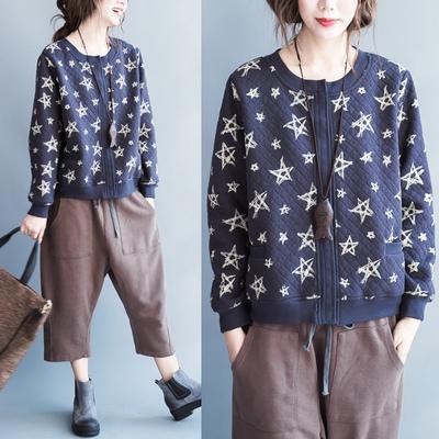 เสื้อคลุมแจ็คเก็ตเกาหลี พิมพ์รูปดาวทั้งตัว แต่งกระดุม