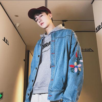 เสื้อแจ็คเก็ตยีนส์เกาหลี แต่งลายดอกแขนเสื้อ มี2สี